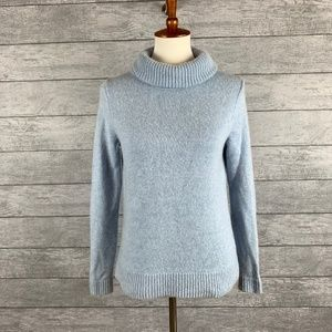 J Crew Factory Wool Blend Blue Turtleneck Sweater